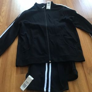 Black and white stripe track suit